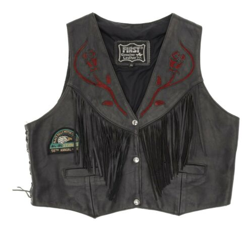 Vintage FIRST Leather Vest XL Womens CROPPED Fring