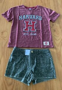 GIRLS-Size-12-Burgundy-HARVARD-Tee-t-shirt-top-amp-Khaki-print-shorts-NEW