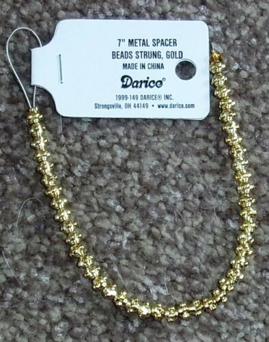 "Darice 7/"" 17.78cm plaqué or métal spacer beads 1999-149 strand 6mm"