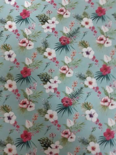 150 cm wide flowers on turquoise  100/% Cotton fabric by John Louden Dressmaking