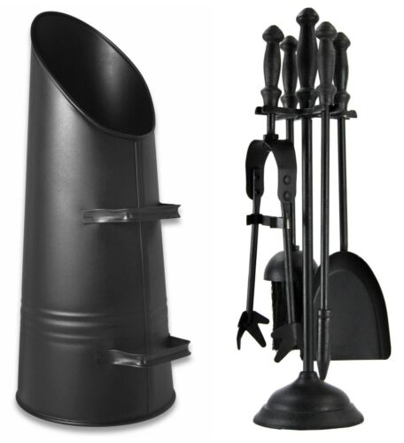 Fireside Black Coal Hod Scuttle Waterloo Bucket 5 Piece Companion Set Iron Tools