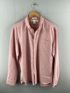 H&M L.O.G.G Mens Pink Regular Fit Long Sleeve Pockets Button Up Shirt Size Large