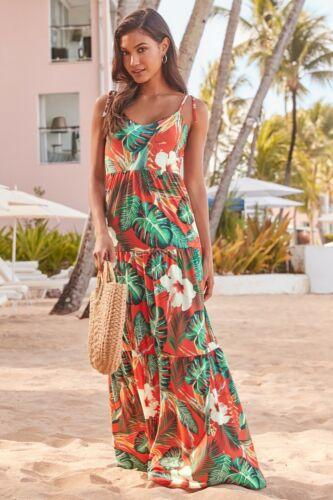 LIPSY Tropical Tiered Hem Maxi Dress 8//10//12//16//18