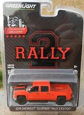 1:64 GreenLight *RALLY 2 EDITION* Red 2015 Chevy SILVERADO Pickup w/TOW HITCH