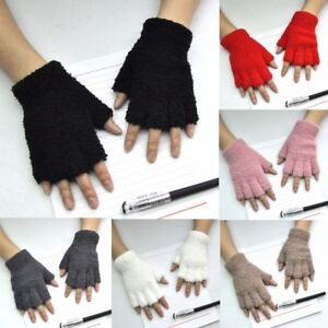 Women-Gloves-Mitten-Fingerless-Knitted-Crochet-Half-Fingers-Adult-Warm-Winter-83