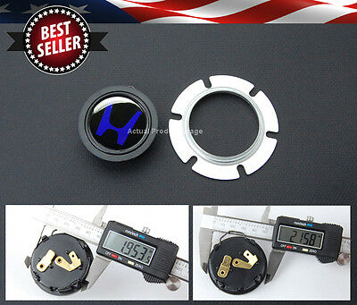 Blue H Center Steering wheel 2 Contacts Connector Horn Button w/ Metal Retainer