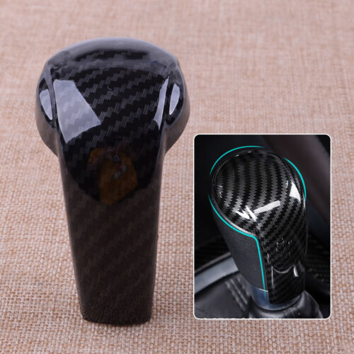 Fit For Mazda 3 6 CX-3 CX-5 CX-9 Black Carbon Fiber Gear Shift Knob Cover Trim