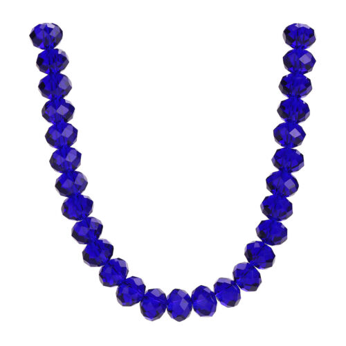 Loose Rondelle Dark Blue 3-18mm Spacer Beads Faceted Making Glass Wholesale