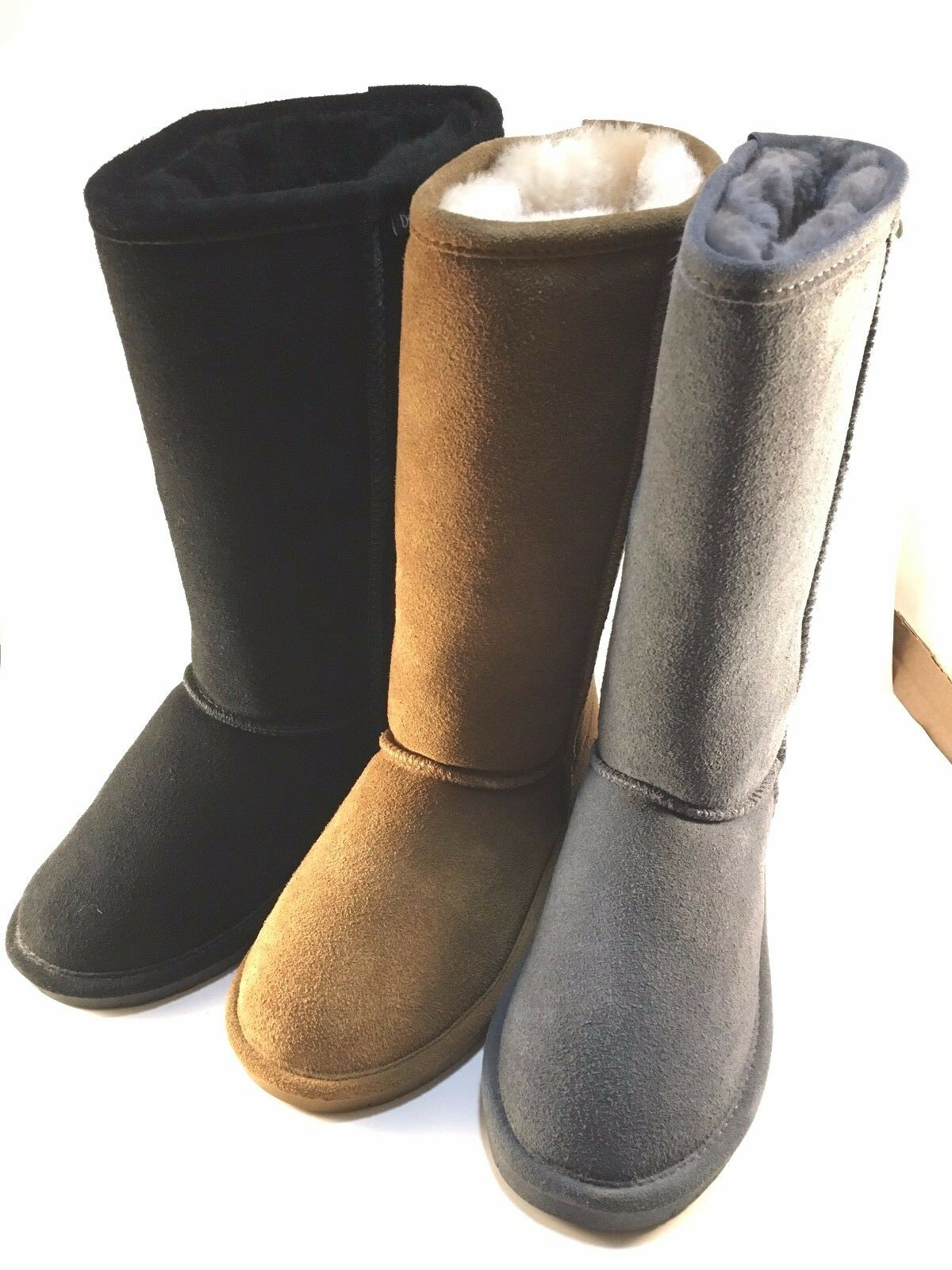 BearPaw Emma Tall Flat Suede Sheep Skin Wool Lining Pull On Boot Choose Sz color