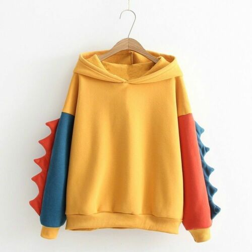 Women Girl Japanese Pullover Hoodie Jumper Sweatshirt Top Dinosaur Kawaii Cute