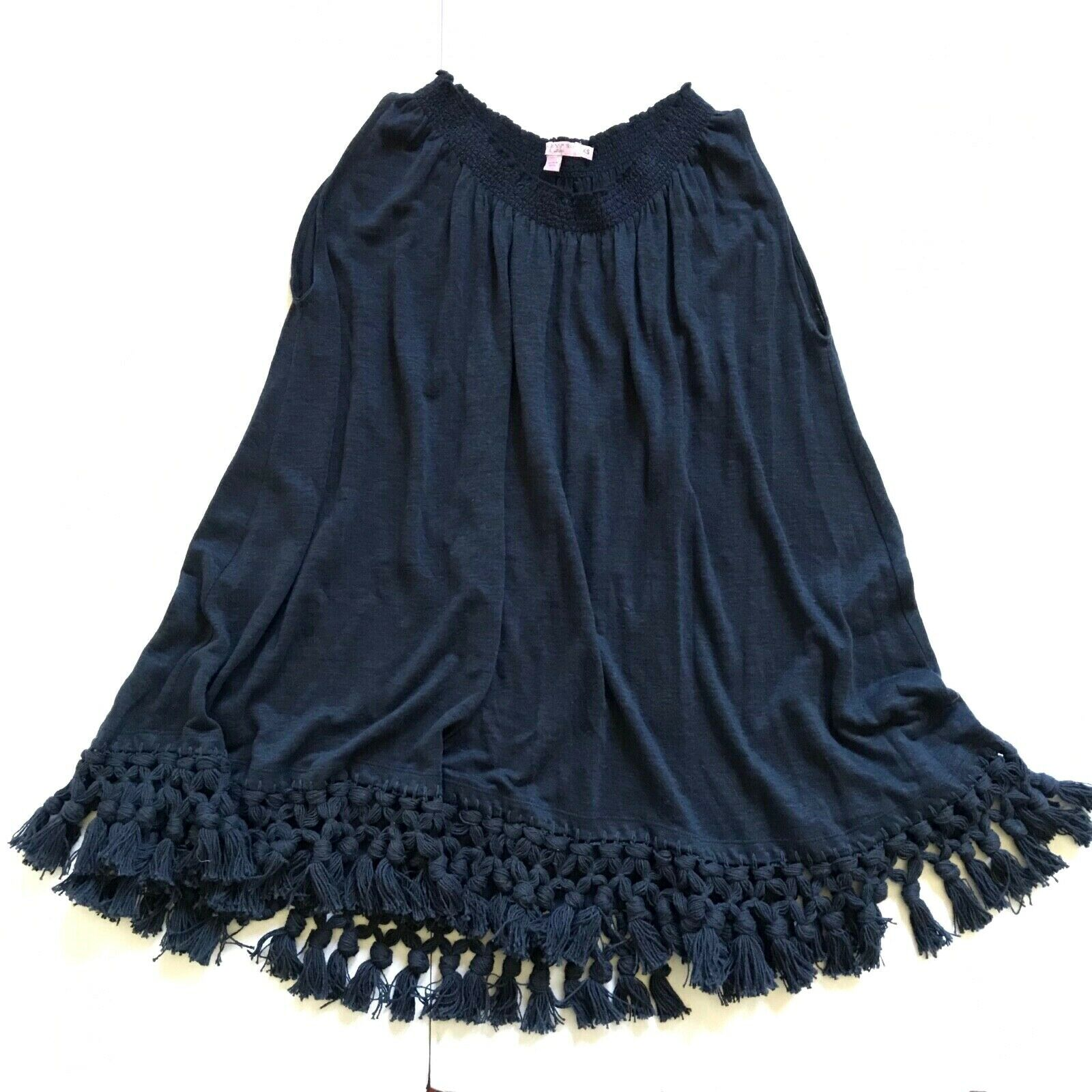Calypso St. Barth Funlu Fringe Shirt Top damen XS Navy Blau Sleeveless Linen S