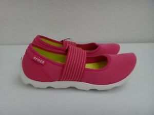 8ce08ac22977d CROCS Women s Duet Busy Day MARY JANE Pink Stretchy Flat Shoes White ...