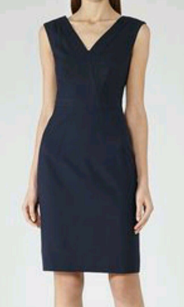 Designer REISS Topaz fitted dress size size size 12 --BRAND NEW-- textured wool blend navy 4b5fe6