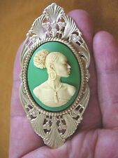 (CA20-18) RARE African American LADY ivory + green CAMEO Pin Pendant JEWELRY