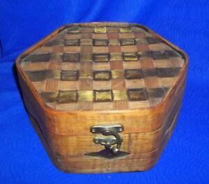 Collectible-Rattan-Wood-Copper-Basket-Weave-Hexagon-Box-9-1-4-034-D-By-Pier-1