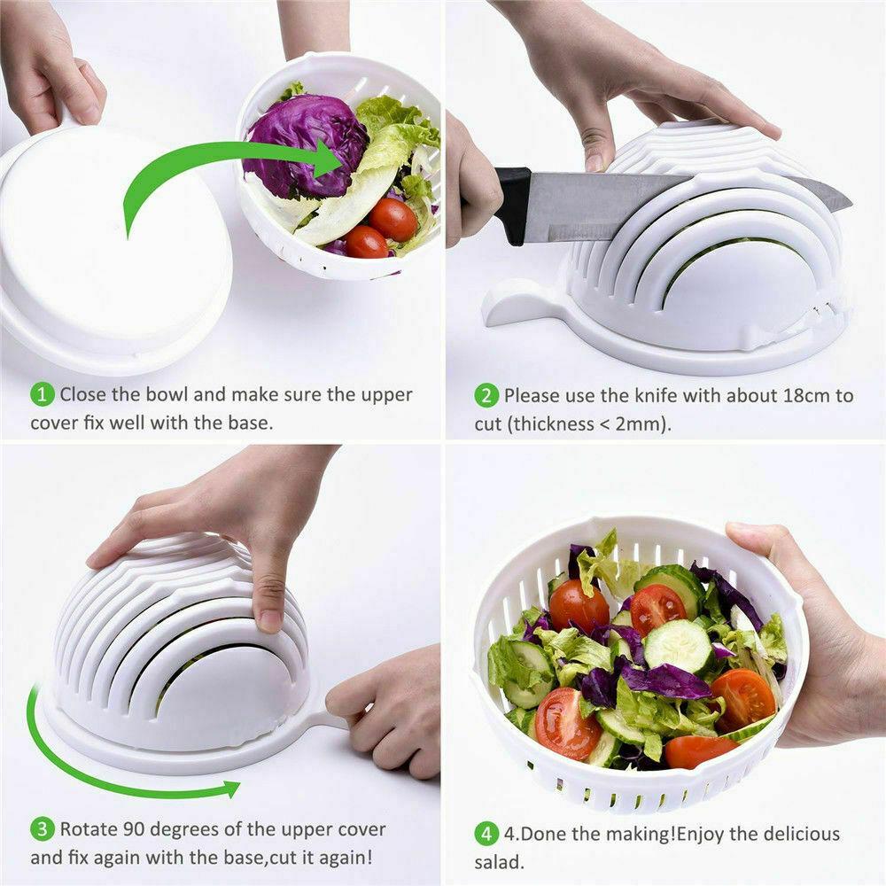 Easy Cook Wash N Chop Vegetable Salad Bowl 60 Second Salad Maker Salad Cutter