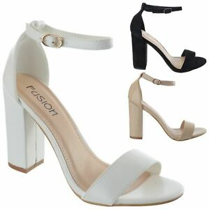 womens high block heels open toe strappy party prom