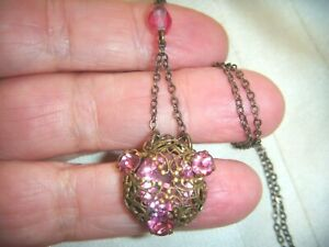 ANTIQUE-ART-DECO-GORGEOUS-CZECH-PINK-Crystal-INTRICATE-FILIGREE-VINTAGE-NECKLACE