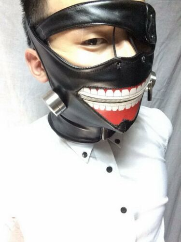 Tokyo Ghoul Kaneki Ken Black Leather Face Mask w//Metal Costume Cosplay Halloween