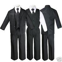 Black Baby Toddler Formal Wedding Party Boy Suit Tuxedo Tie 5pc Set Sz S-4t