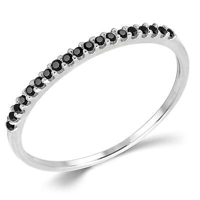 14K Solid White Gold Black CZ Cubic Zirconia Stackable Anniversary Ring Band