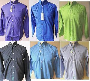 BEN-SHERMAN-Boy-039-s-youths-Long-Sleeve-Plain-Bright-Shirts-B-D-Various-Colours