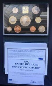 Royal Mint UK 1999 Nine Coin Proof Set Inc.Diana £5, Rugby £2, Scots £1 &COA