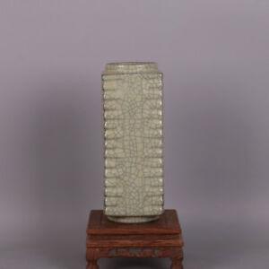 Chinese-Old-Marked-Guan-Kiln-Grey-Crackle-Glaze-Porcelain-Square-Cong-Vase