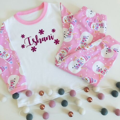 Children Sizes Xmas Pj/'s Cute Design! Personalised Christmas Snowman Pyjamas