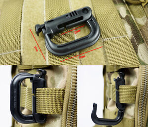 10pcs-D-ring-tactical-molle-Locking-webbing-buckle-carabiner-Army-Green