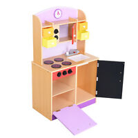 Fun Wood Kitchen Toy Kids Cooking Pretend Play Toddler Wooden Playset Us