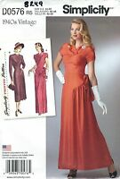 Simplicity 8249 Misses' Gown And Dress Retro 1940's Sewing Pattern