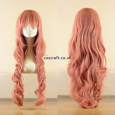 80cm long wavy curly cosplay wig in milkshake pink, UK seller, Jeri style