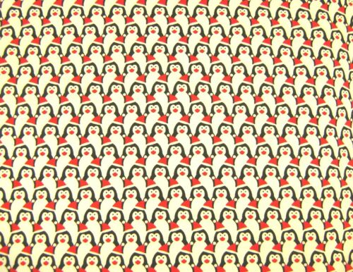 Christmas Penguins Festive Polycotton Craft  Fabric 112cm Wide @ £2.64 per mtr.