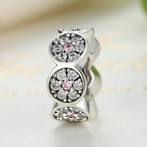 Real-925-Sterling-Silver-Round-Clear-amp-Pink-CZ-Flower-Charm-Spacer-fit-Bracelet