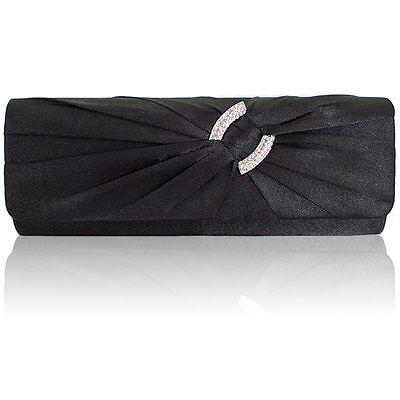 Ladies Satin Clutch Bag Women Bridal Evening Party Shoulder Handbag Diamante UK