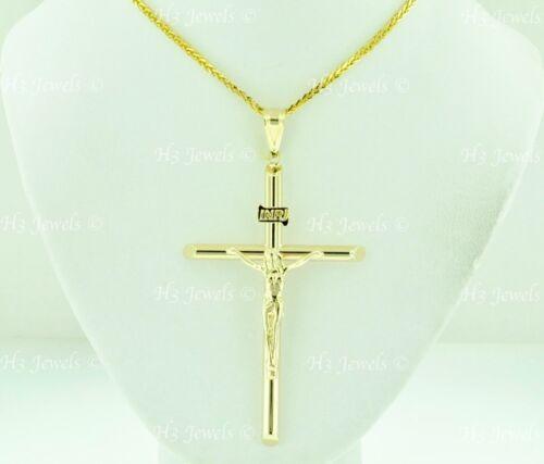 14k solide or jaune JESUS CHRIST INRI Pendentif Croix #8307 crucifix 3.20 G