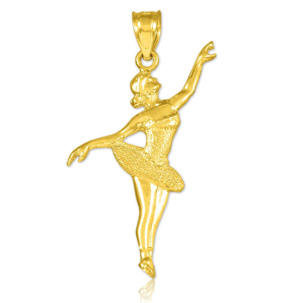 Ballet Dancer Solid gold Charm Pendant