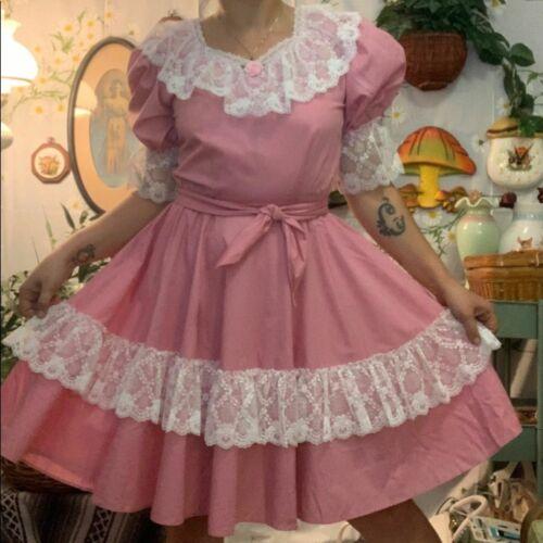 Vintage dusty pink white frilly prairie dress