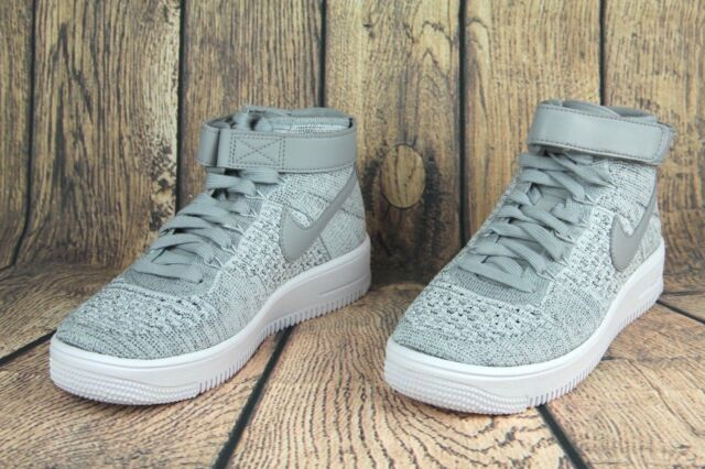 eeba567ac7a1 Nike Air Force 1 Af1 Ultra Flyknit Mid GS Wolf Grey White Youth Size ...