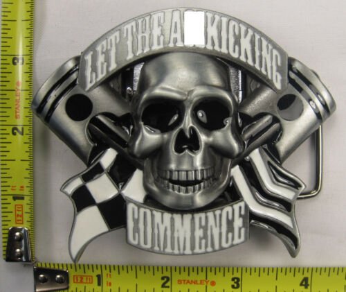 LET THE A$$ KICKING COMMENCE MATAL BELT BUCKLE CHECKERED FLAG WINNER B673
