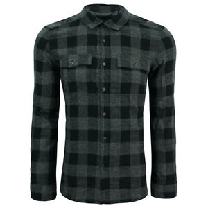 Kenneth-Cole-New-York-Men-039-s-Buffalo-Check-L-S-Flannel-Shirt-Black-M