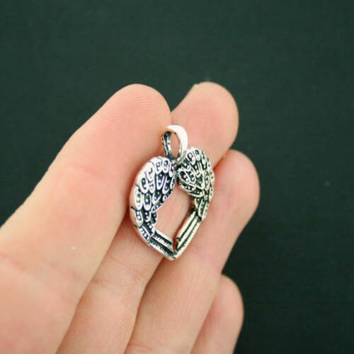 SC6105 4 Angel Wings Heart Charms Antique Silver Tone