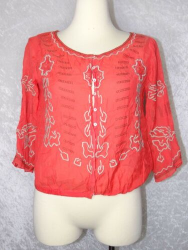 Free People Small Boho Gypsy Button Blouse Orange