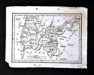 1833-Perrot-Tardieu-Minature-Map-Ain-Province-Rhone-Alps-Burgundy-France