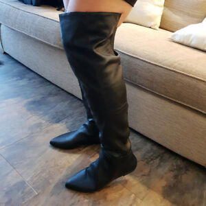 Black Leather Over The Knee Boots Flat