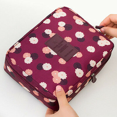 New Portable Travel Makeup Toiletry Case Pouch Flower Organizer Cosmetic Bag