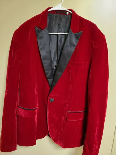 Men's Velvet Blazer Sports Coat  red Size xxl - image 1