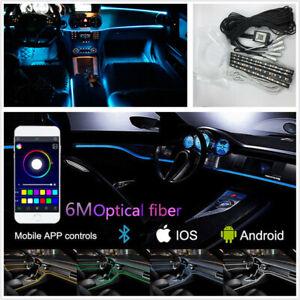 Car Interior Decor Neon Atmosphere Light Floor Lamp 6m Fiber Optical App Control Ebay