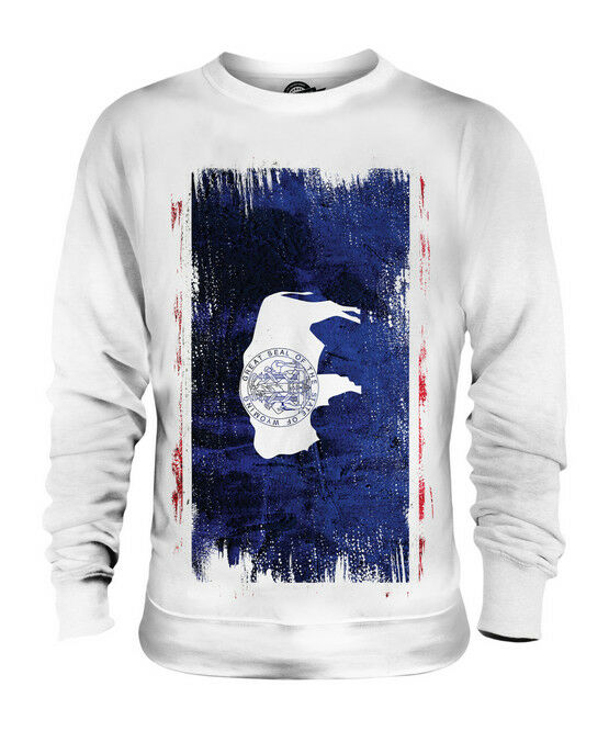 WYOMING STATE GRUNGE FLAG UNISEX SWEATER TOP WYOMINGITE SHIRT JERSEY GIFT